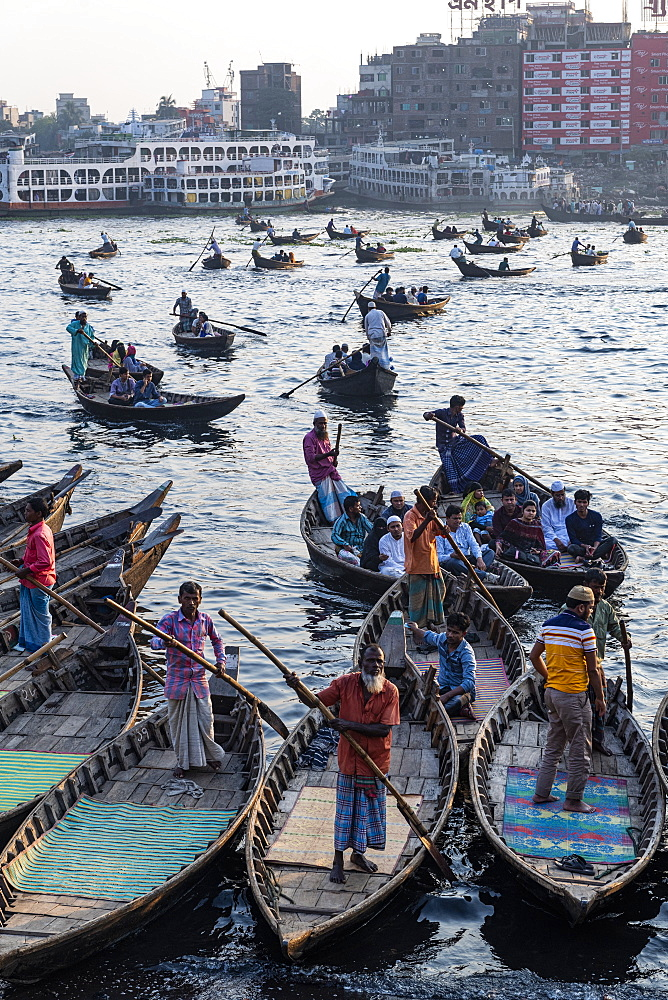 Passenger Canoes in the port of Dhaka, Bangladesh, Asia