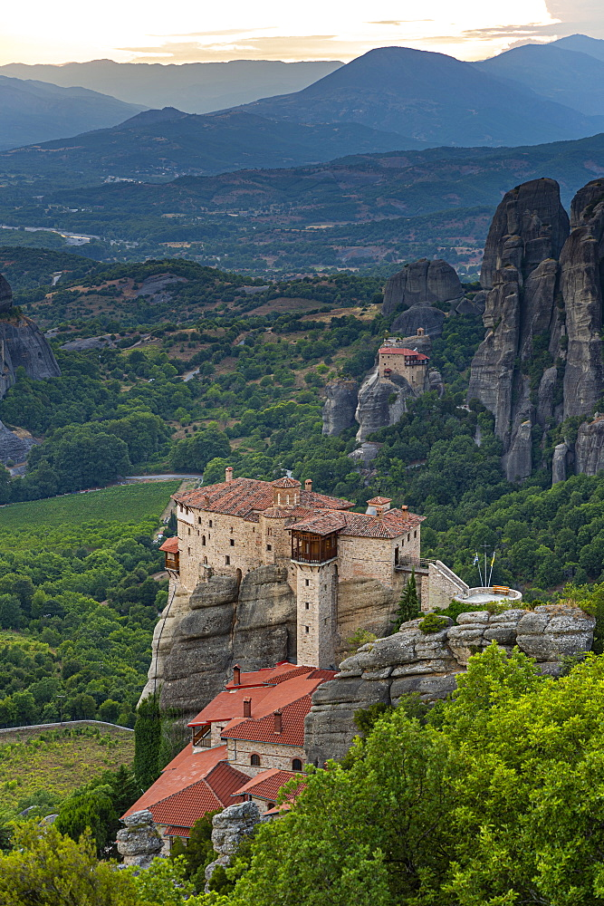 Holy Monastery of St. Nicholas Anapafsas at sunset, Unesco world heritage site Meteora monateries, Greece - 1184-4436