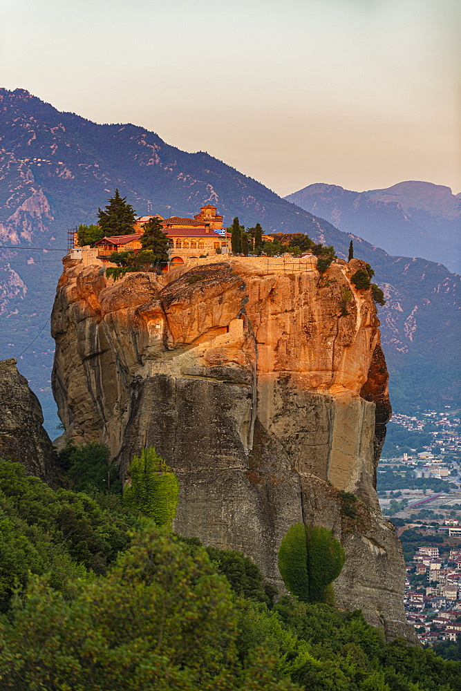 Holy Monastery of Holy Trinity at sunrise, Unesco world heritage site Meteora monateries, Greece - 1184-4437