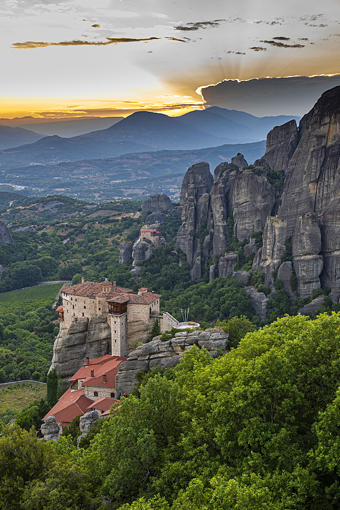 Holy Monastery of St. Nicholas Anapafsas at sunset, Unesco world heritage site Meteora monateries, Greece - 1184-4438