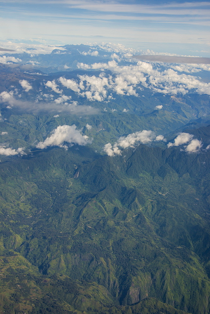 Aerial of the western highlands of Papua New Guinea, Pacific