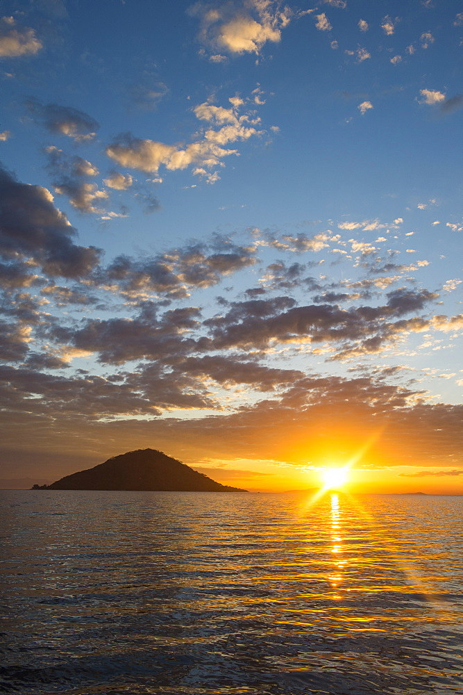 Sunset at Cape Maclear, UNESCO World Heritage Site, Lake Malawi, Malawi, Africa
