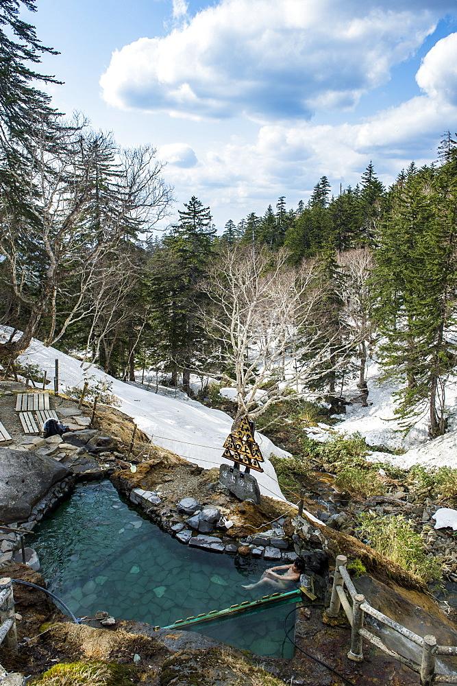 Outdoor onsen in the Daisetsuzan National Park, UNESCO World Heritage Site, Hokkaido, Japan, Asia
