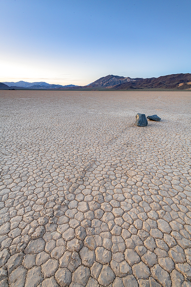 Moving boulders at Racetrack Playa in Death Valley National Park, California, United States of America, North America