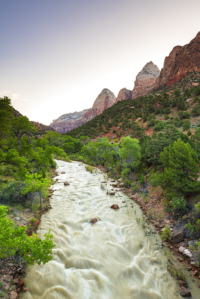 View down the Virgin River to the Watchman, Zion National Park, Utah, United States of America, North America