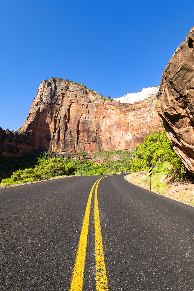 Road in Zion Canyon overlooked by Angels Landing, Zion National Park, Utah, United States of America, North America