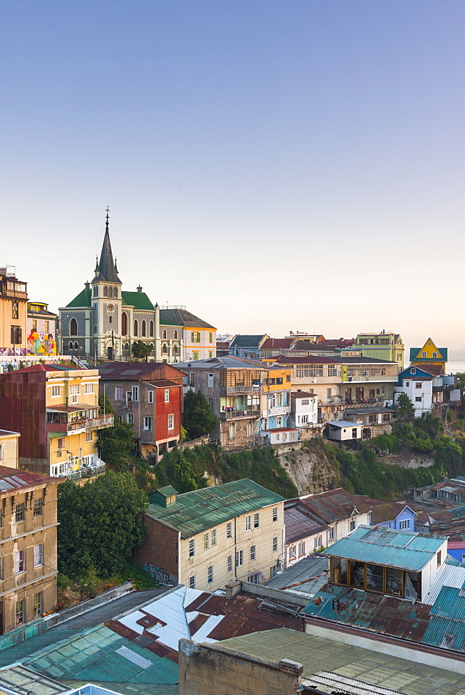 Sunrise over the colourful buildings of Valparaiso, Chile, South America