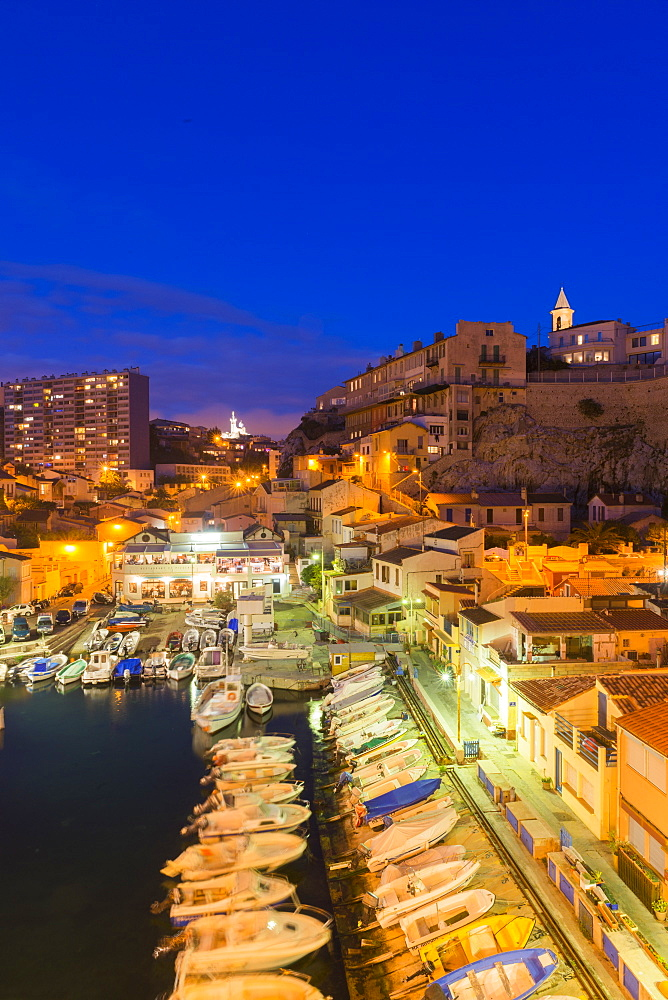 Port Du Vallon Des Auffes at night, Marseille, Bouches du Rhone, Provence, Provence-Alpes-Cote d'Azur, France, Mediterranean, Europe