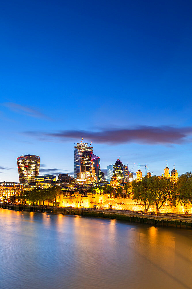 The city and tower of London at dusk reflecting in the river Thames - 1186-757