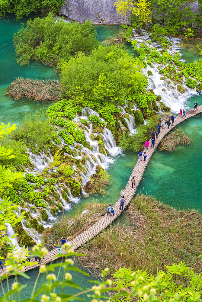 Aerial view of the boardwalk at Plitvice lakes