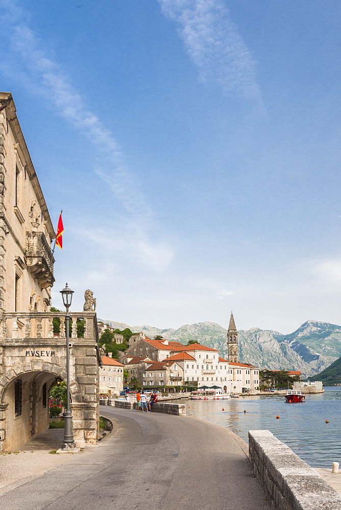 Promenade of Perast, Bay of Kotor, UNESCO World Heritage Site, Montenegro, Europe
