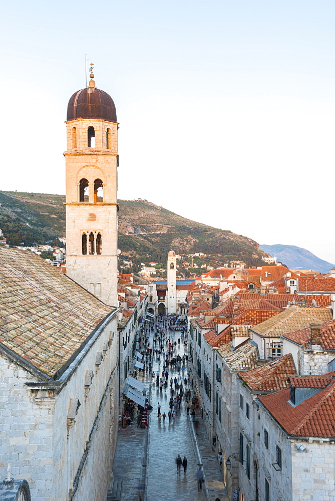 View down Stradun from the city walls, UNESCO World Heritage Site, Dubrovnik, Croatia, Europe