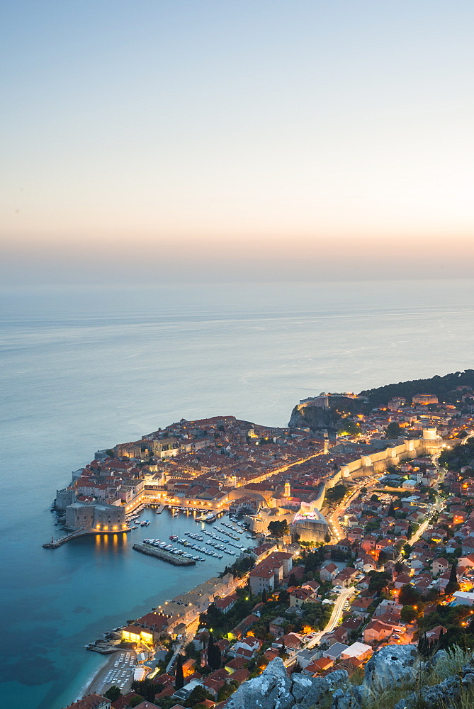 Dusk over the town of Dubrovnik, UNESCO World Heritage Site, Dubrovnik, Croatia, Europe