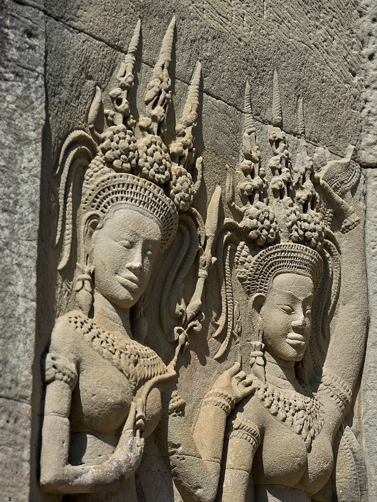 Detail of carvings, Angkor Wat Archaeological Park, UNESCO World Heritage Site, Siem Reap, Cambodia, Indochina, Southeast Asia, Asia