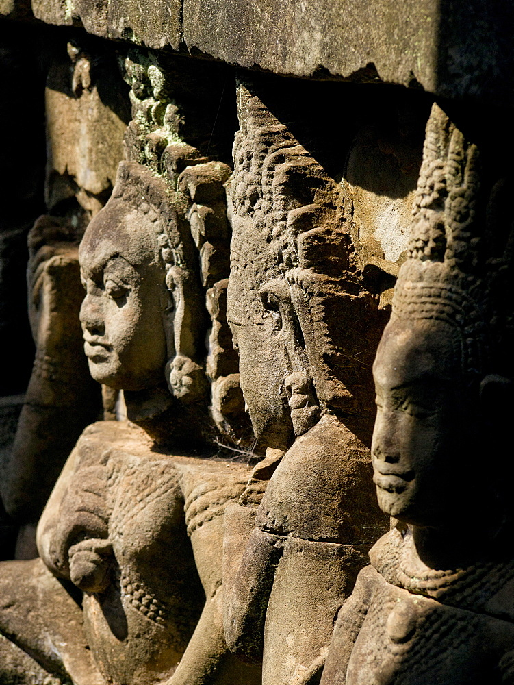 Detail of carving, Angkor Wat Archaeological Park, UNESCO World Heritage Site, Siem Reap, Cambodia, Indochina, Southeast Asia, Asia