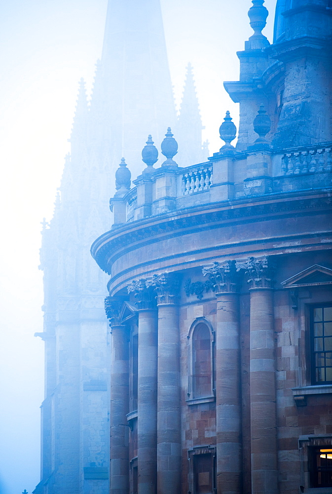 Radcliffe Camera and St. Mary's Church in the mist, Oxford, Oxfordshire, England, United Kingdom, Europe - 1199-370