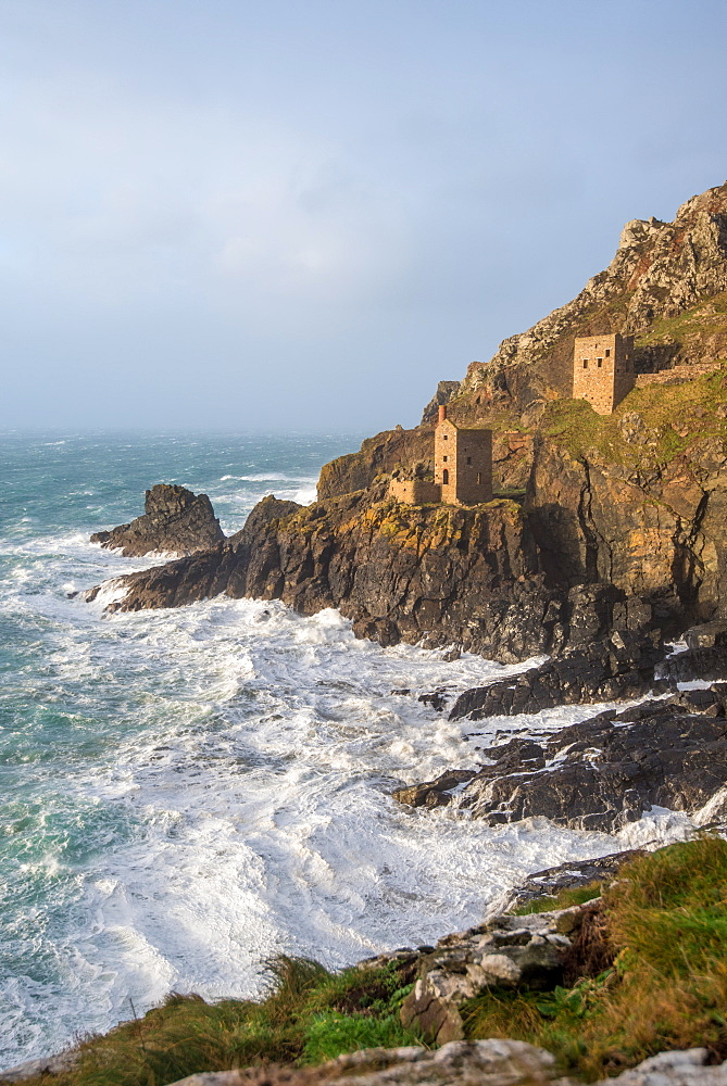 A vertical photograph of The Crown Tin Mines in Botallack in Cornwall - 1199-491