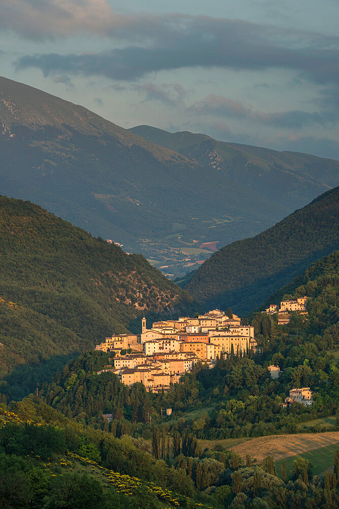 View of the village of Preci at sunset, Valnerina, Umbria, Italy, Europe - 1200-107