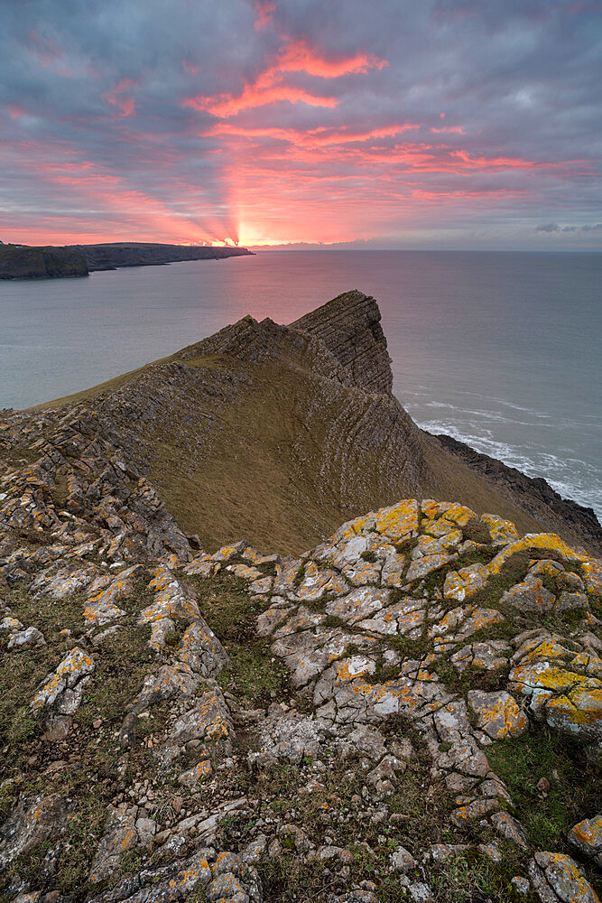 View towards Fall Bay and Mewslade Bay, at sunrise, Gower Peninsula, South Wales, United Kingdom, Europe - 1200-117