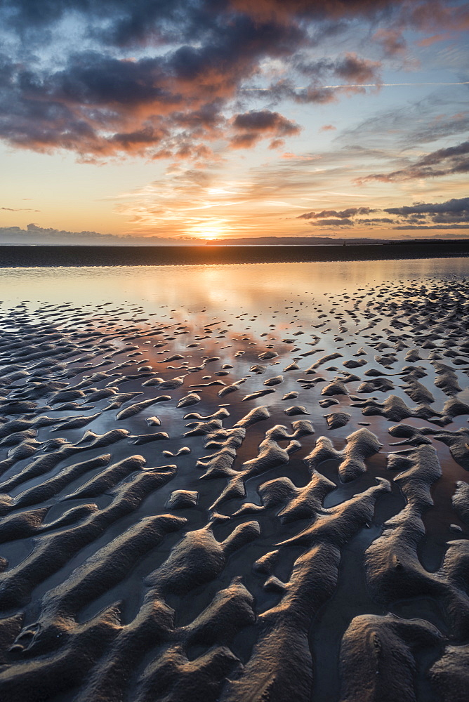 Sunset, Camber Sands, East Sussex, England, United Kingdom, Europe