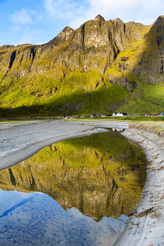 Mountain reflection, Ersfjord, Senja, Norway, Scandinavia, Europe