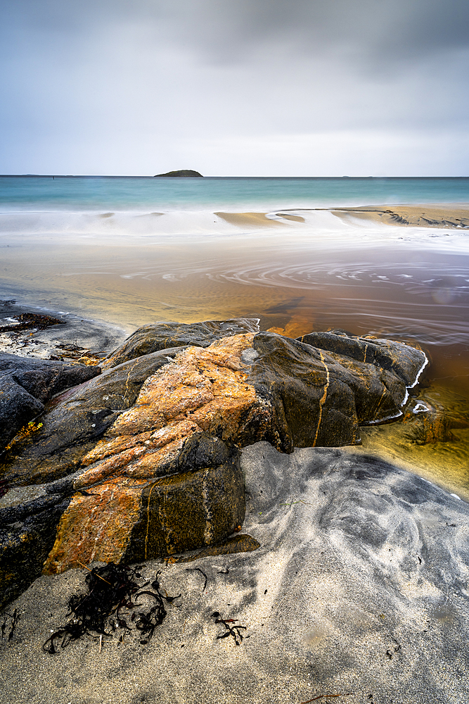 Rock formation and sandy beach, Sandvika, Senja, Norway, Scandinavia, Europe