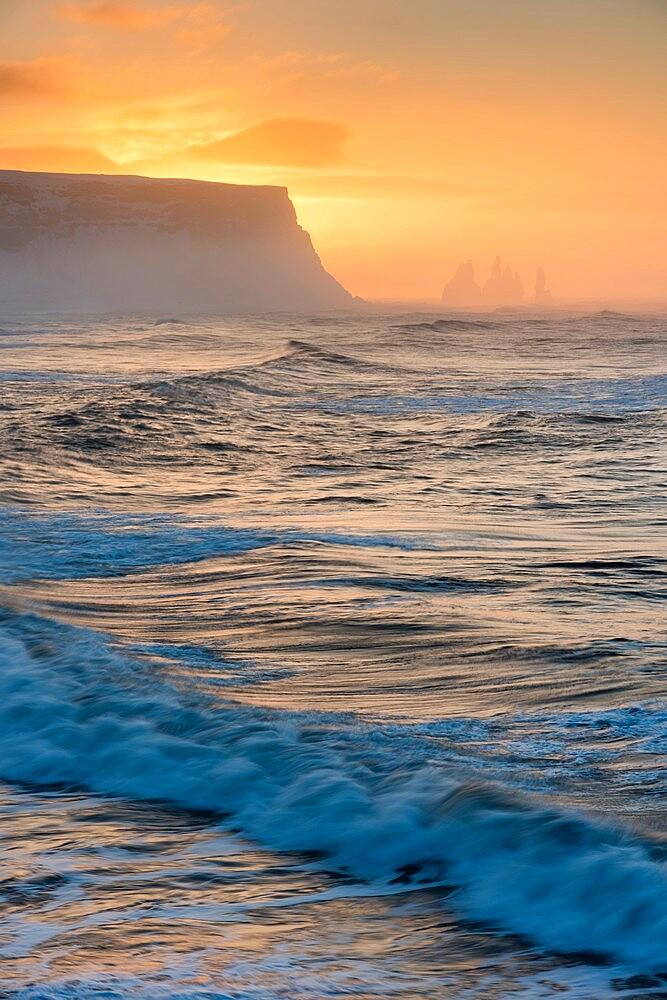 View looking towards Reynisfjara beach, at sunrise, Iceland - 1200-420