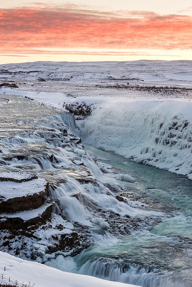 Gullfoss waterfall at dawn, Iceland. - 1200-421