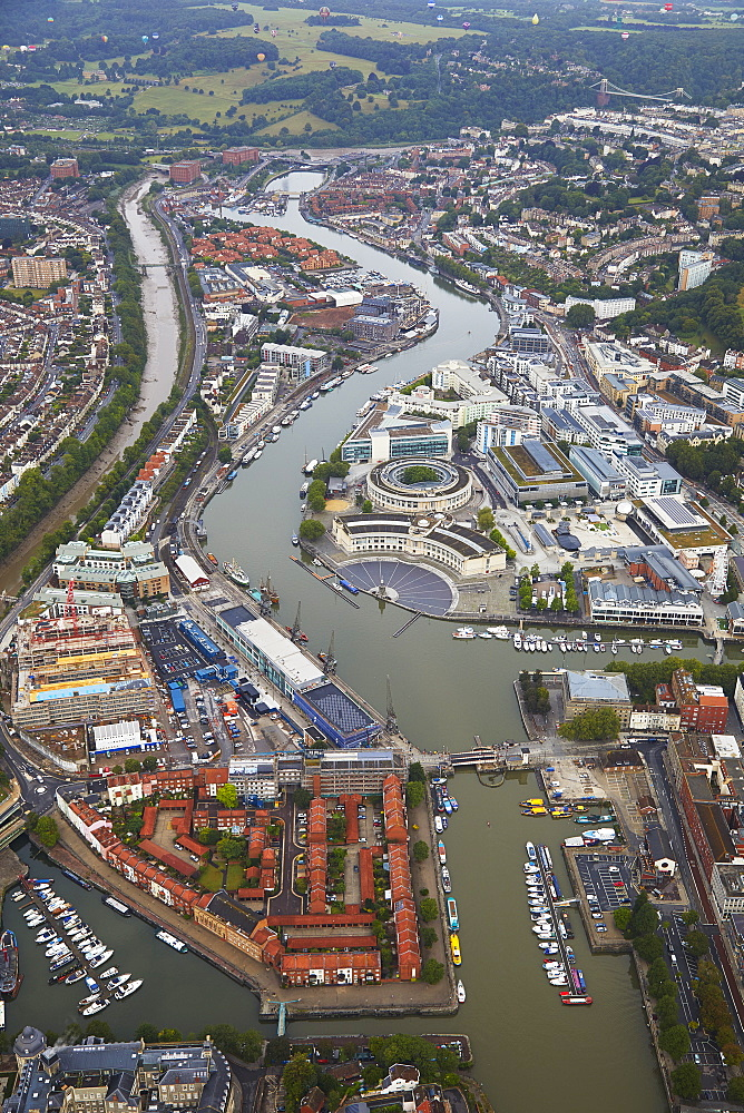 A view of the old Bristol docks, no longer commercially active but a tourism attraction, seen from a hot-air balloon, Bristol, England, United Kingdom, Europe - 1202-185