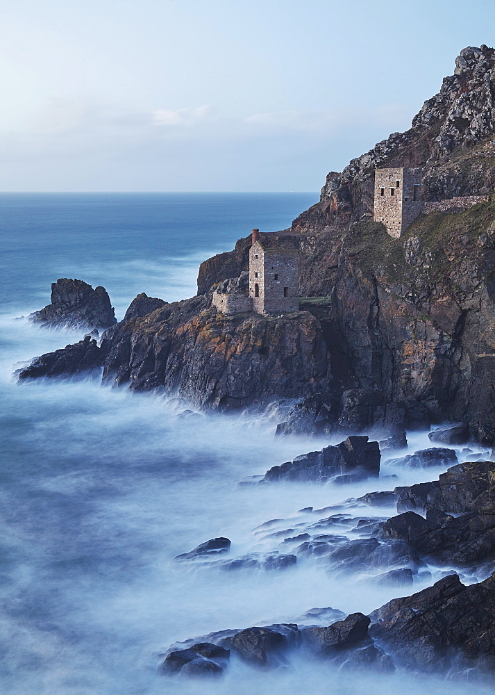 A dusk view of the iconic cliffside ruins of Botallack tin mine, near St Just, near Penzance, in west Cornwall. - 1202-295