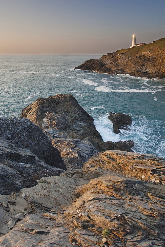 A peaceful dusk on Cornwall's Atlantic coast, showing the lighthouse at Trevose Head, near Padstow. - 1202-350