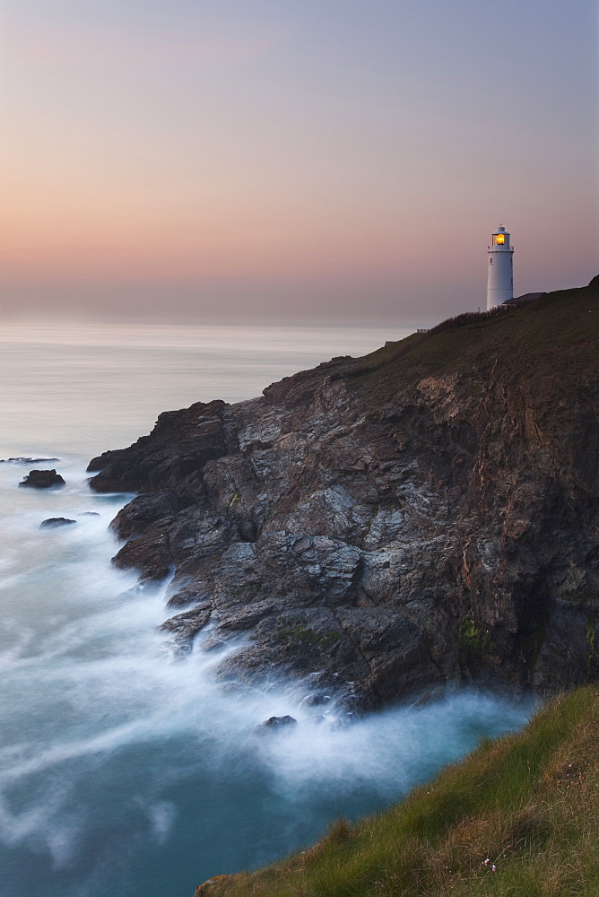 A peaceful dusk on Cornwall's Atlantic coast, showing the lighthouse at Trevose Head, near Padstow. - 1202-351