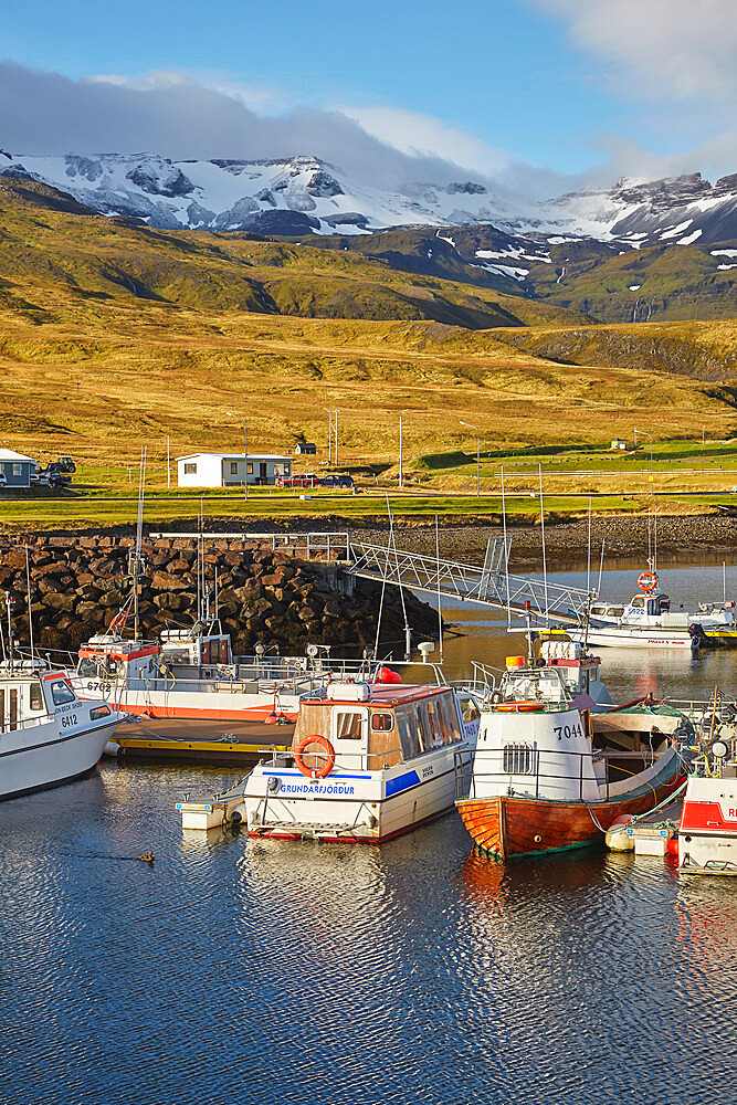 Fishing boats in the harbour at Grundarfjordur, with a mountainous backdrop, on the Snaefellsnes peninsula, west Iceland, Polar Regions - 1202-417