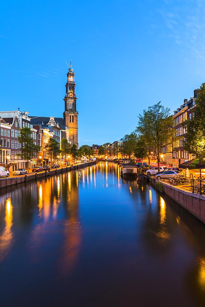 Prinsengracht canal and Westerkerk, Amsterdam, Netherlands - 1207-113