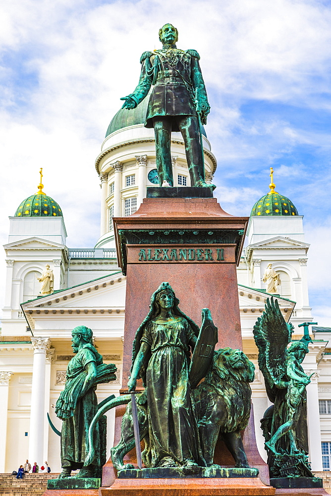 Statue of Emperor Alexander II in Senate Square, Helsinki, Finland, Europe