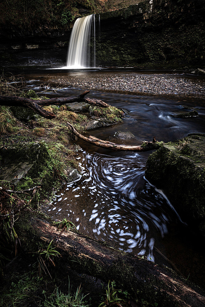 Sgwd Gwladus waterfall, Pontneddfechan, Wales. Waterfall country. Brecon Beacons.