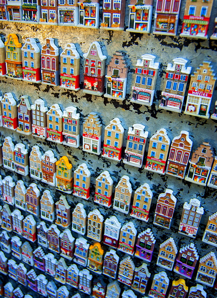 Amsterdam Houses fridge magnets in a tourist shop Amsterdam, The Netherlands, Europe