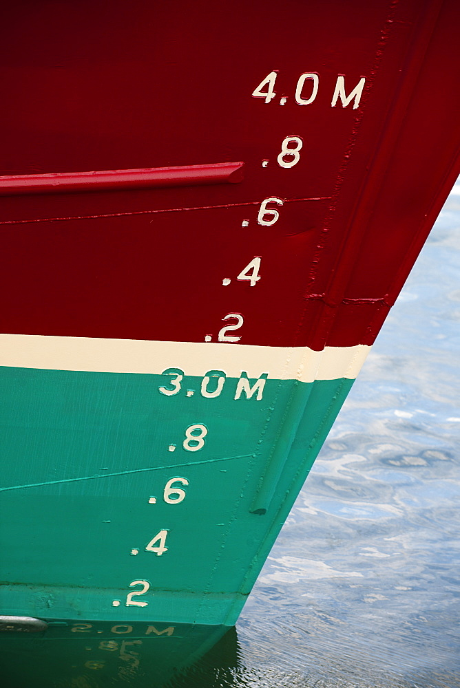 Depth markers on large fishing trawler, Peterhead, Scotland, United Kingdom, Europe