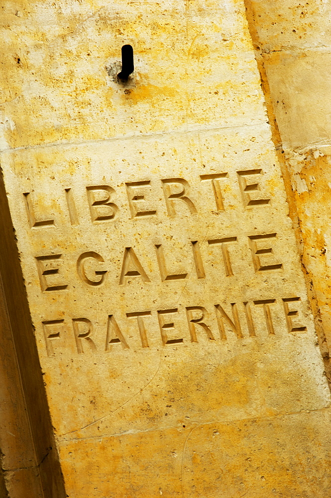 Liberte Egalite Fraternite carved in stone, France, Europe