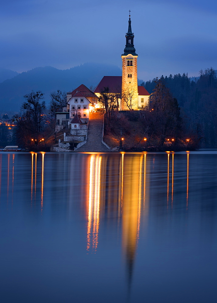 The Church of the Assumption at night, Lake Bled, Slovenia, Europe - 1216-265