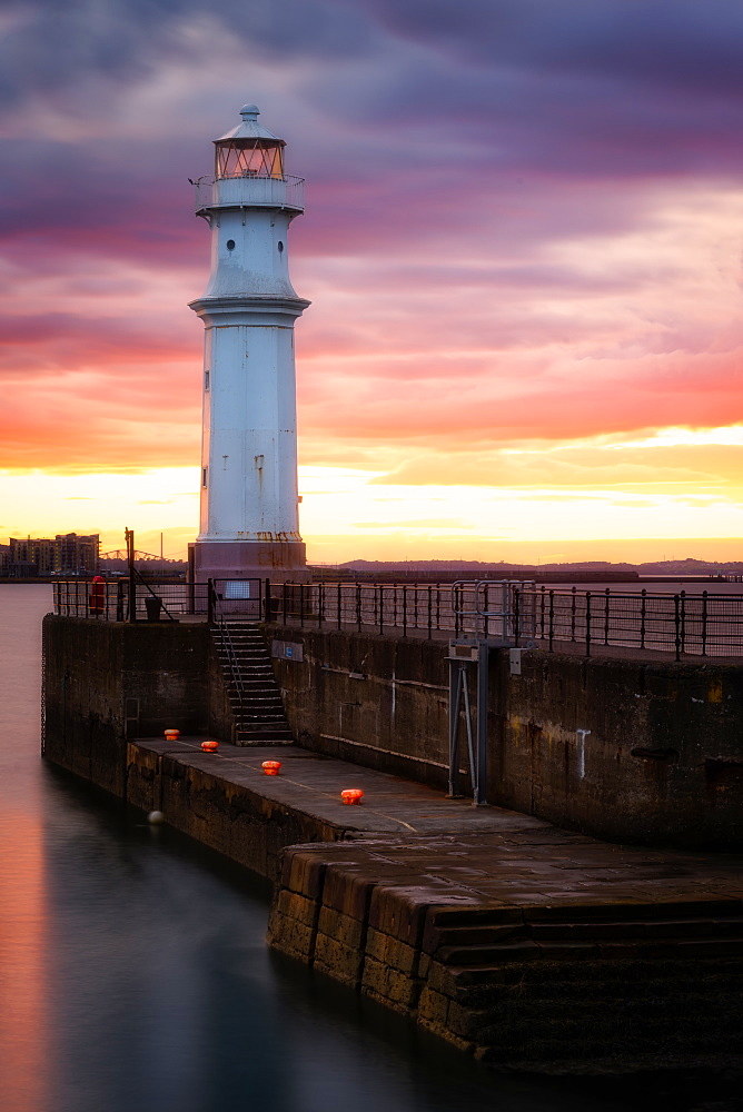 Newhaven Harbour at Sunset, Edinburgh, Scotland, UK