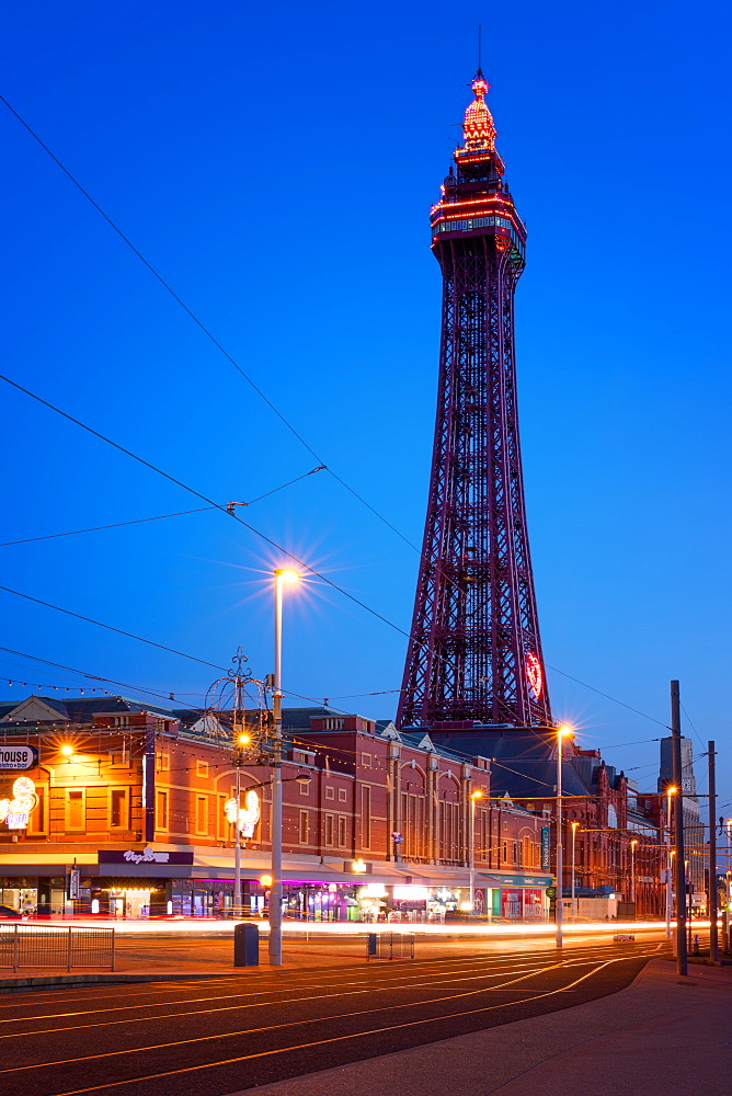 Blackpool Tower at night, Blackpool, Lancashire, England, United Kingdom, Europe