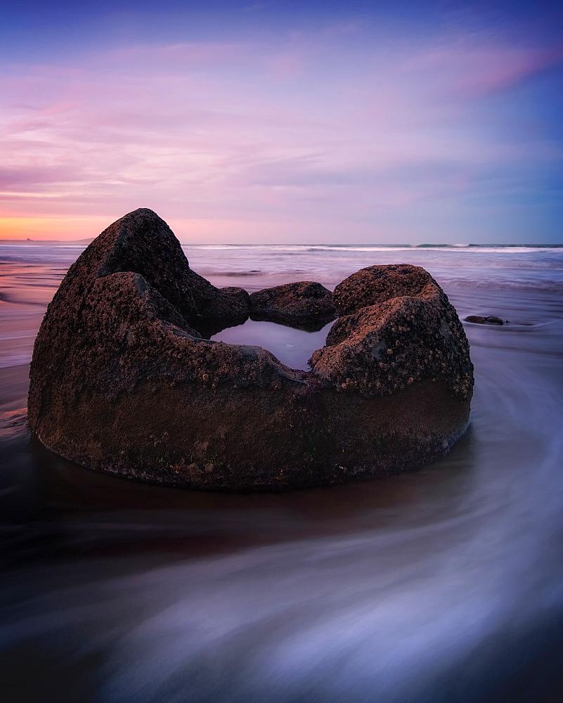 Moeraki Boulders at sunset, South Island, New Zealand, Australasia - 1216-332