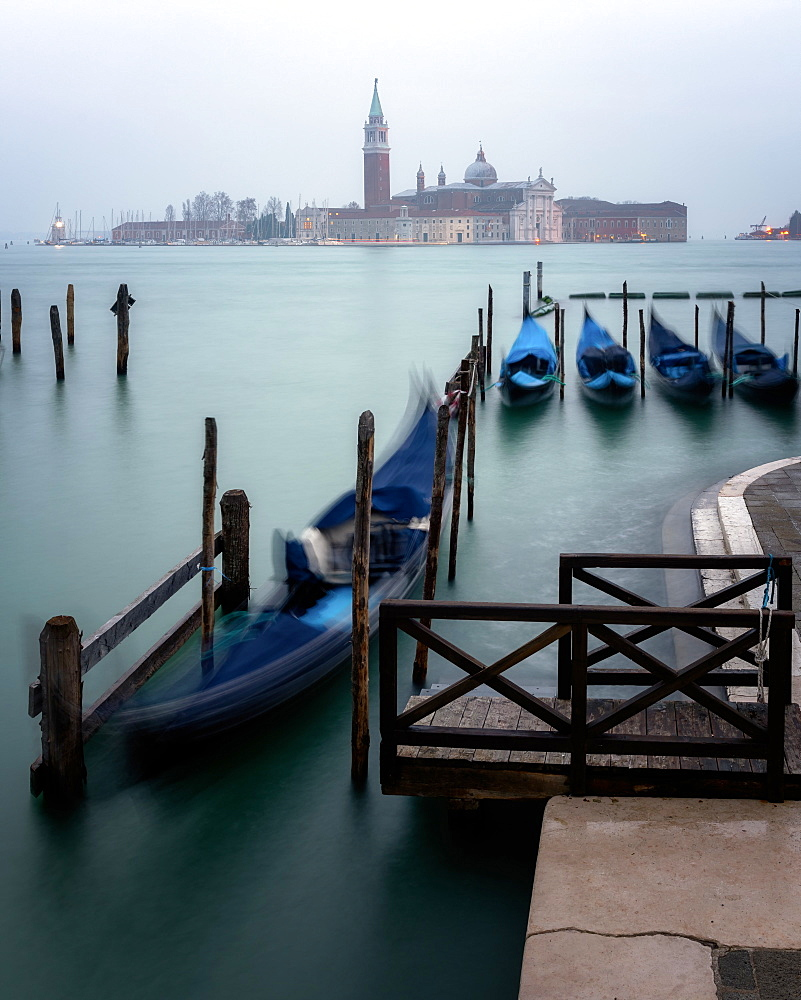 Long exposure of gondolas by San Giorgio Maggiore, Venice, Italy, Europe