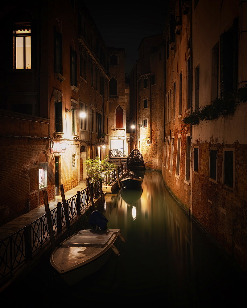 Canal at night in Venice, Italy, Europe