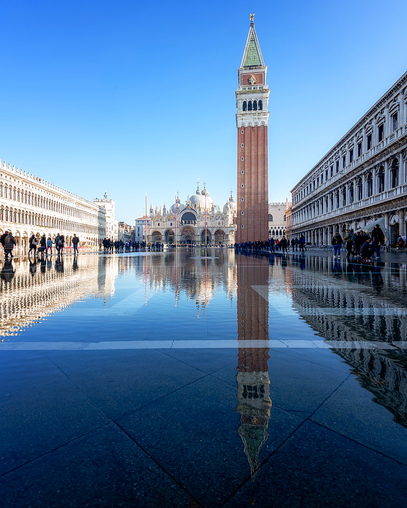 Flooded St Mark's Square in Venice, Italy, Europe