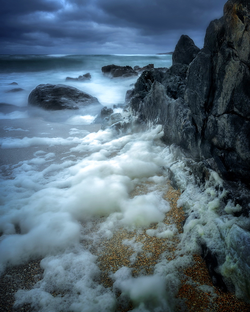 Stormy Bagh Steinigidh beach, Isle of Harris, Outer Hebrides, Scotland, United Kingdom, Europe
