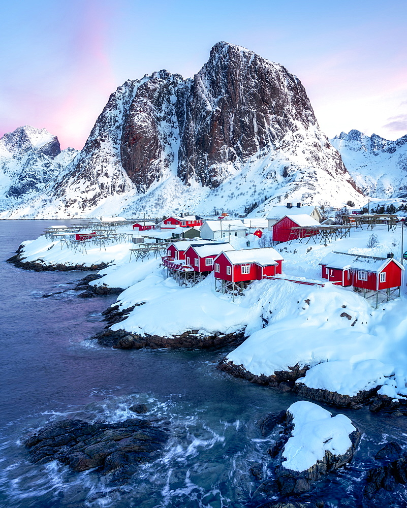 Rorbuer fishermen's huts in the snow, Hamnoy, Moskenesøy, Lofoten Islands, Nordland, Norway, Europe - 1216-393