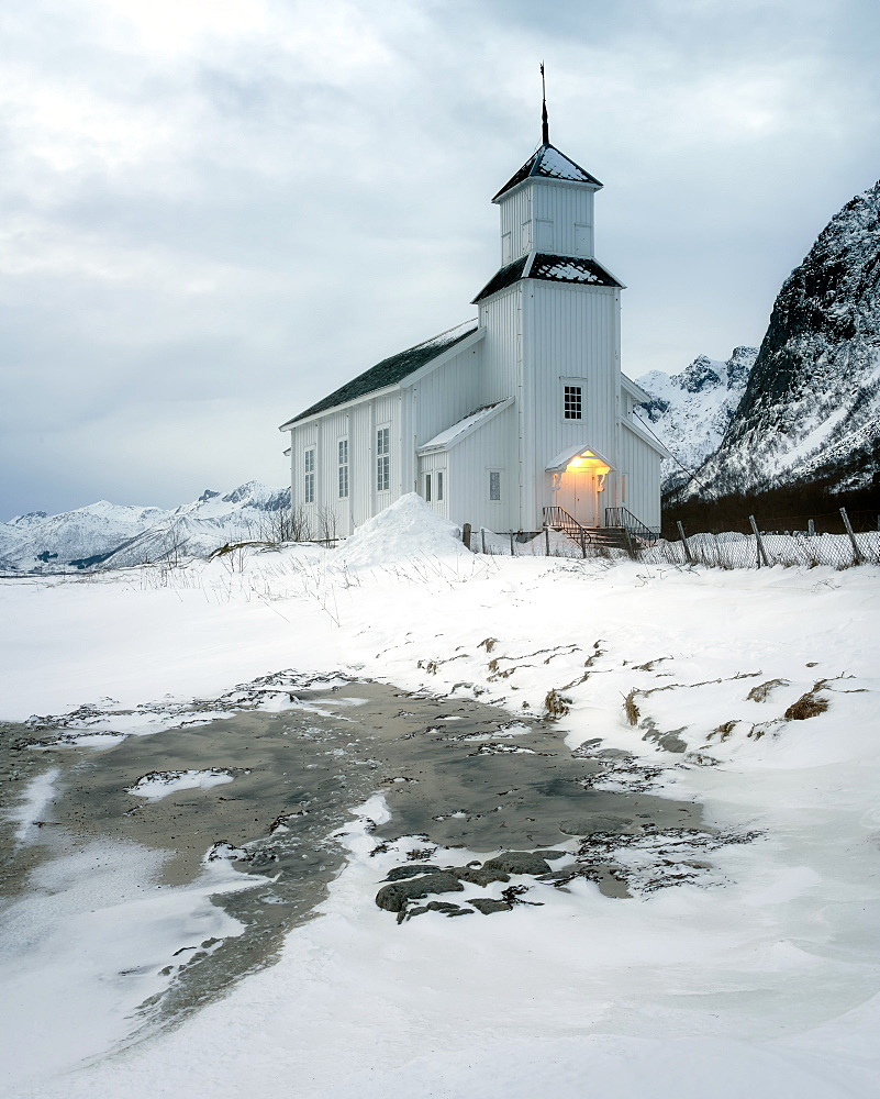 Gimsoy Church in the snow, Gimsoy, Lofoten Islands, Nordland, Arctic, Norway, Europe