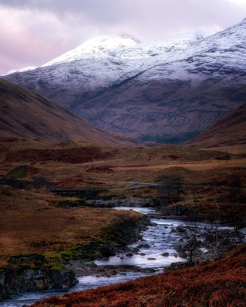 Winter in Glen Etive, Scottish Highlands, Scotland, United Kingdom, Europe
